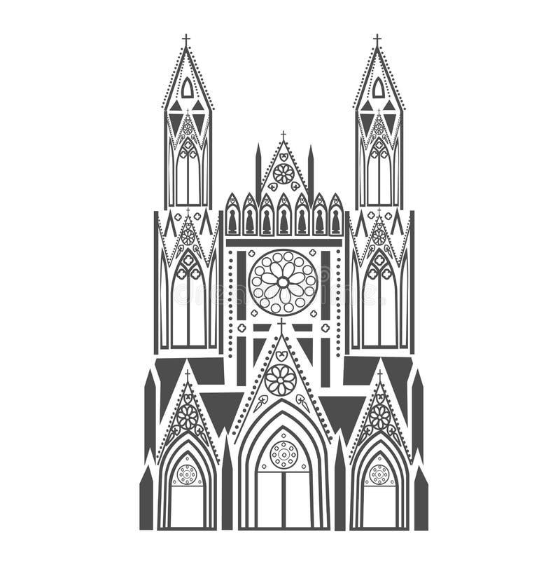 Katolsk domkyrka royaltyfri illustrationer