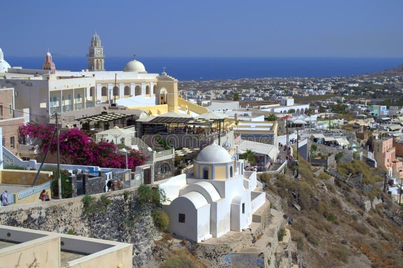 Katolsk domkyrka i Santorini fotografering för bildbyråer