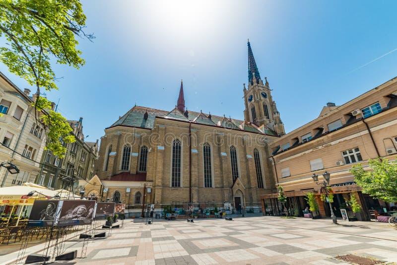 Katolsk domkyrka namnet av den Mary Church och Katolicka Porta fyrkanten i Novi Sad i mitten av Novi Sad - bakgård arkivbilder