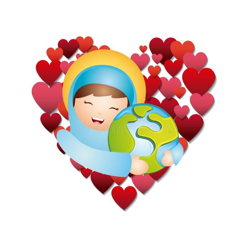 Katolsk förälskelsedesign stock illustrationer