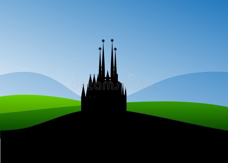 Katolsk kyrka stock illustrationer