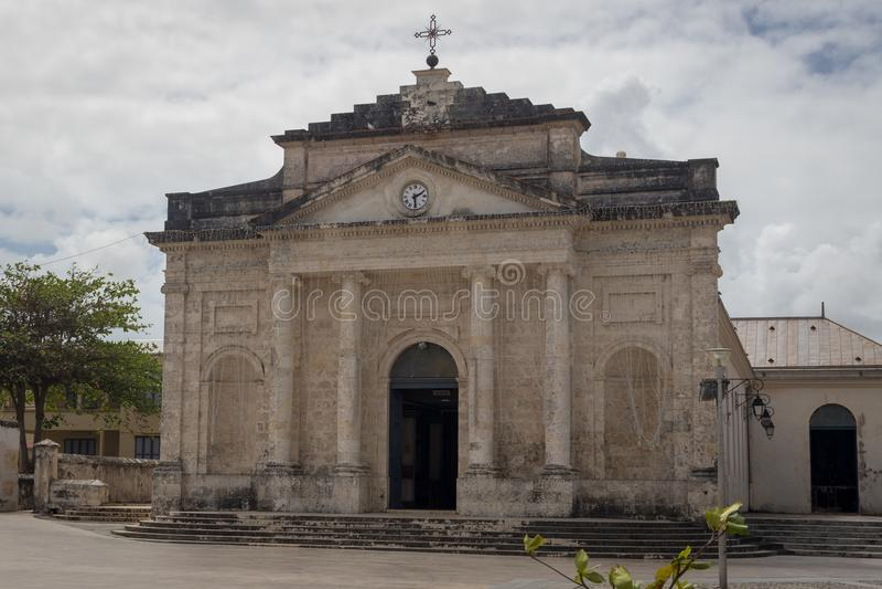 Katolsk kyrka av Helgon-Jean-Baptiste i staden Le Moule, Guadeloupe arkivfoton