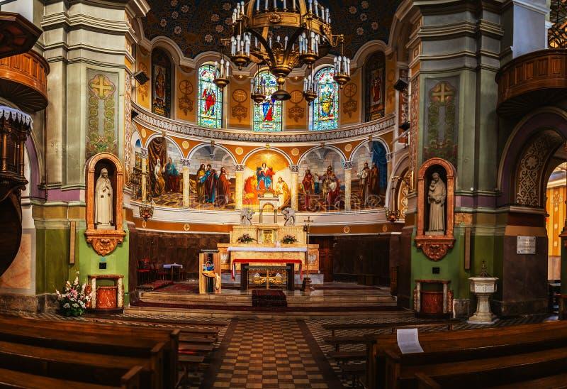 Katolsk kyrka av pingstdagen i Lodz, Polen royaltyfria bilder