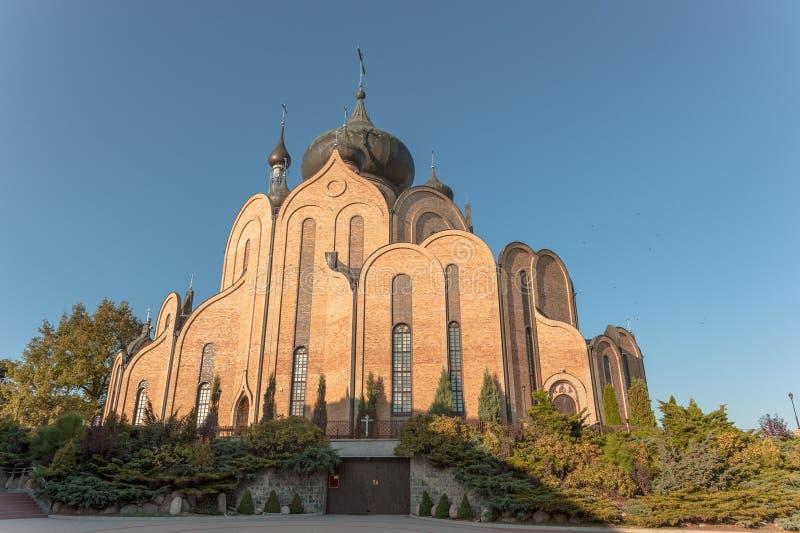 Katolsk kyrka Bialystok Polen för BIALYSTOK POLEN OKTOBER 2014 fotografering för bildbyråer