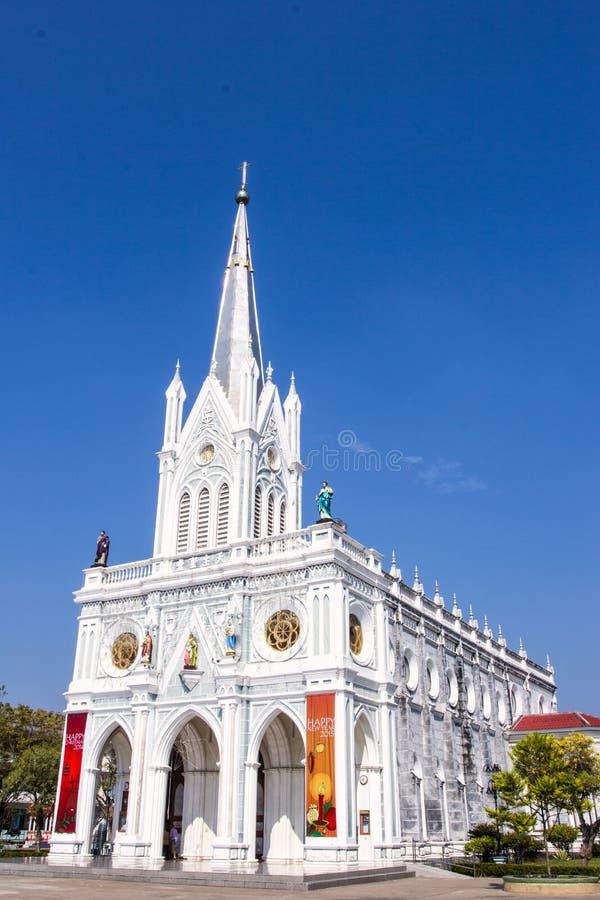 Katolsk kyrka på Samut Songkhram, Thailand arkivbilder