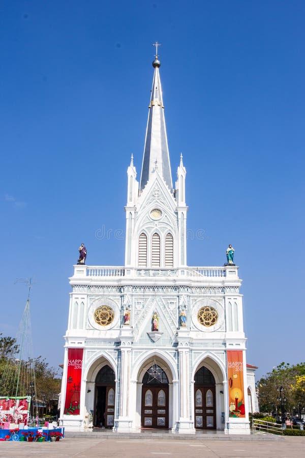Katolsk kyrka på Samut Songkhram, Thailand royaltyfria bilder
