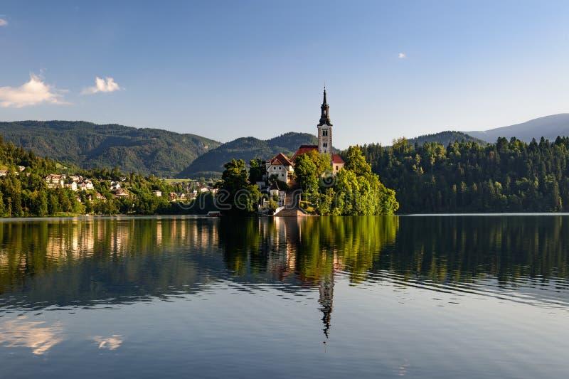 Katolsk kyrka som placeras på en ö på Bled royaltyfri foto