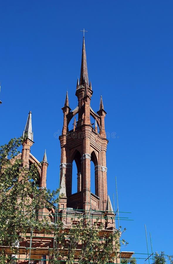 Katolsk tempel Roman Catholic Parish av välsignad hjärta av Jesus i Samara royaltyfri bild