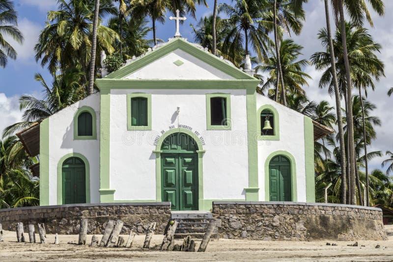 Katolska kyrkan av helgonet Benedict i får sätter på land i nordostliga Brasilien arkivbild