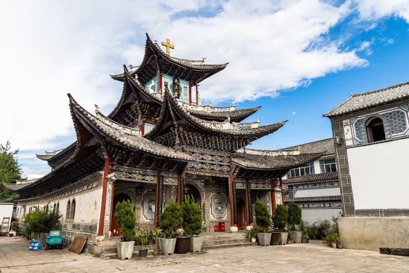 Katolska kyrkan i Dali Old Town, Yunnan, Kina arkivbilder