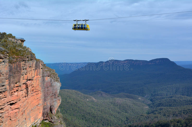 Katoomba szenisches Skyway reist über die Schlucht über dem Katoom lizenzfreie stockfotos