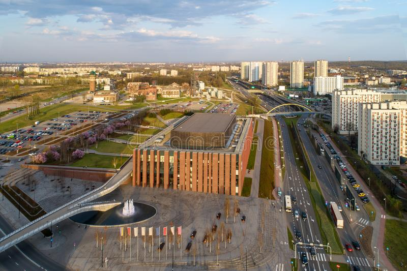 Katowice aerial skyline. With a central urban highway Drogowa Trasa Srednicowa, blocks of flats, NOSPR concert hall, old mining infrastructure, Silesian museum stock image