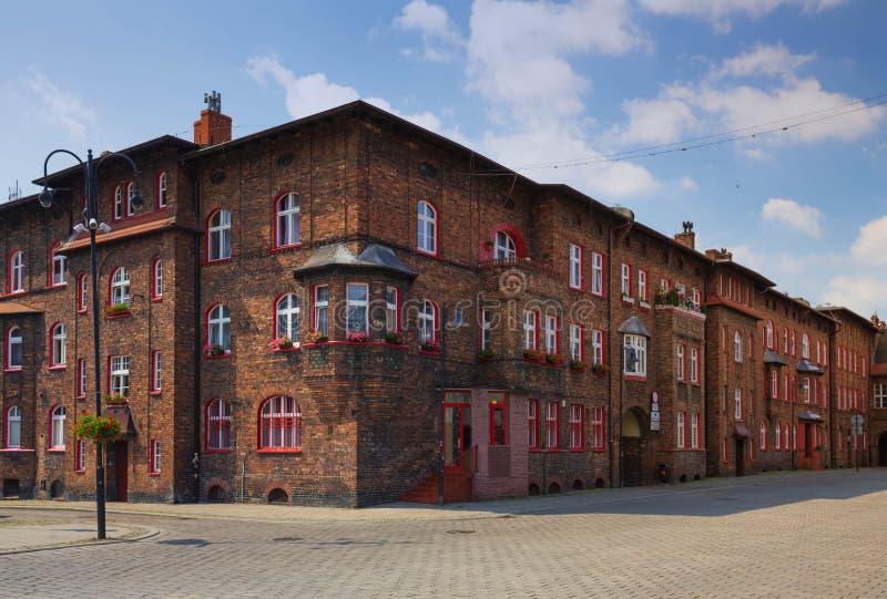 Katowice/distretto storico Nikiszowiec ed architettura tradizionale nella città Slesiana immagini stock libere da diritti