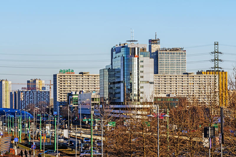 Katowice downtown. View in the foreground 'Chorzowska 50' office building considered the most prestigious business complex in town, seat of well-known companies royalty free stock images