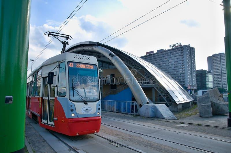 Katowice - Eye city - tram station. Katowice – the dome on the General J. Ziętek - Eye city - Poland , Spodek , Soucer royalty free stock images