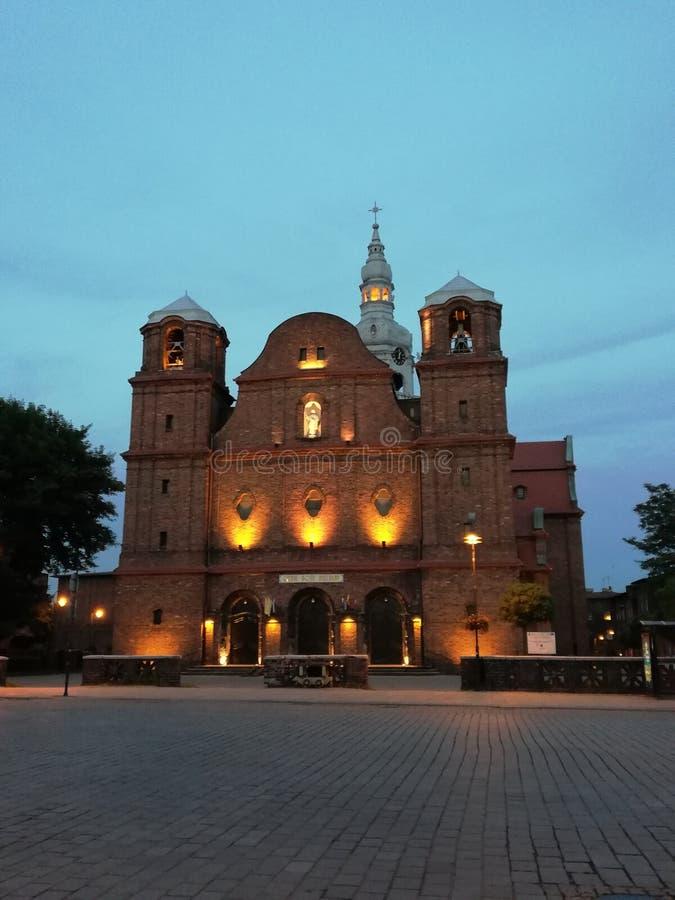 Church. Katowice, nikiszowiec, lights, prey royalty free stock image