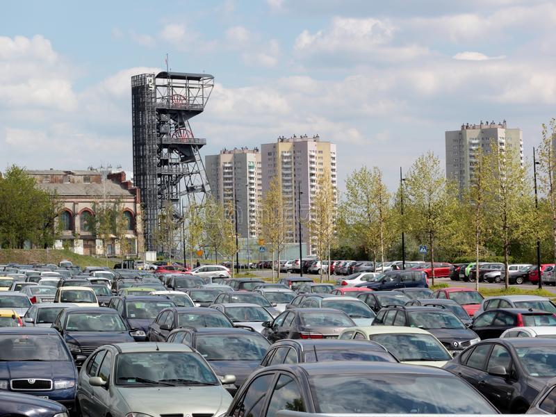 Katowice, parking lot. Katowice, Poland - May 8, 2019: Parking lot next to Silesian Museum in the Culture Zone, Katowice stock image