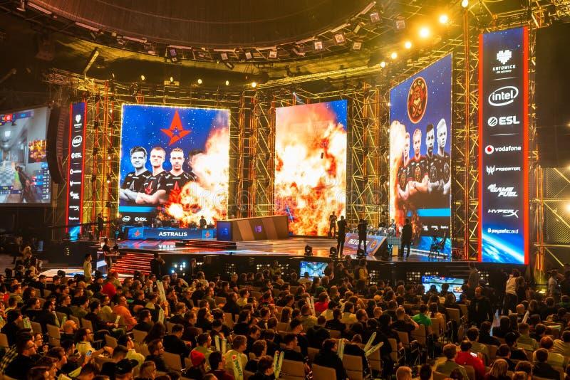 KATOWICE, POLÔNIA - 3 DE MARÇO DE 2019: Mestres extremos 2019 de Intel - campeonato do mundo eletrônico dos esportes o 3 de março fotografia de stock royalty free