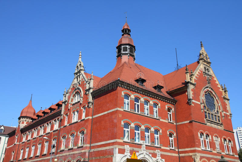 Katowice, Poland. High school building, old landmark stock image