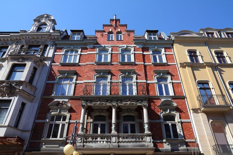 Katowice, Poland. Vintage apartment building, old landmark royalty free stock photos