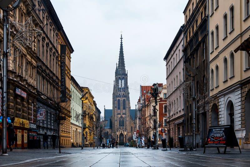 Katowice, Poland - January 1, 2019: Katowice Mariacka walking street and Immaculate Conception Catholic Church called Kosciol stock photography