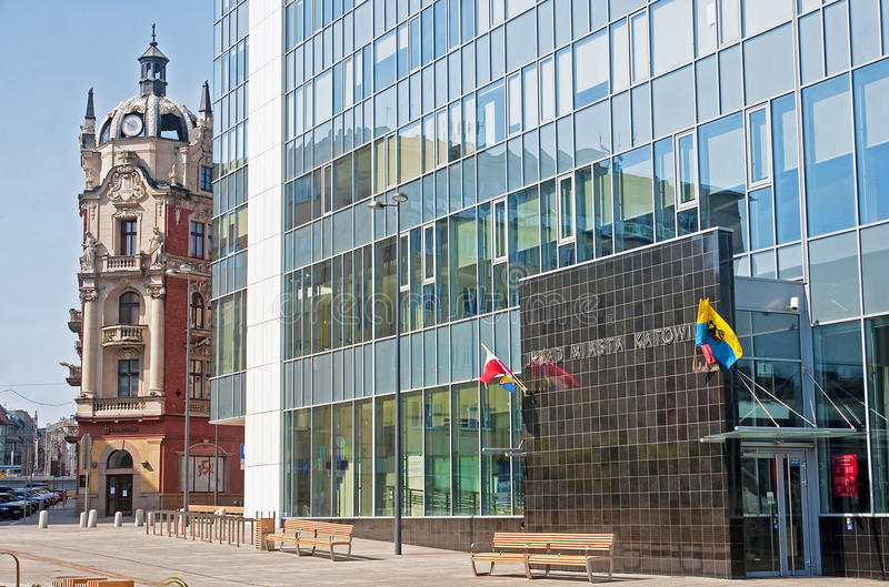 KATOWICE, POLAND - JULY 19, 2015: New City Hall in Katowice on 1. 9 July 2015 in Katowice, Poland. New renovated City Hall is located in the city center stock images