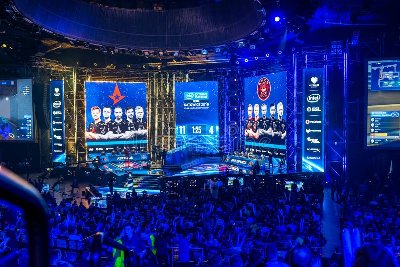 KATOWICE, POLAND - MARCH 3, 2019: Intel Extreme Masters 2019 - Electronic Sports World Cup on march 3, 2019 in Katowice, Silesia,. Poland. IEM ESL Couter Strike stock images