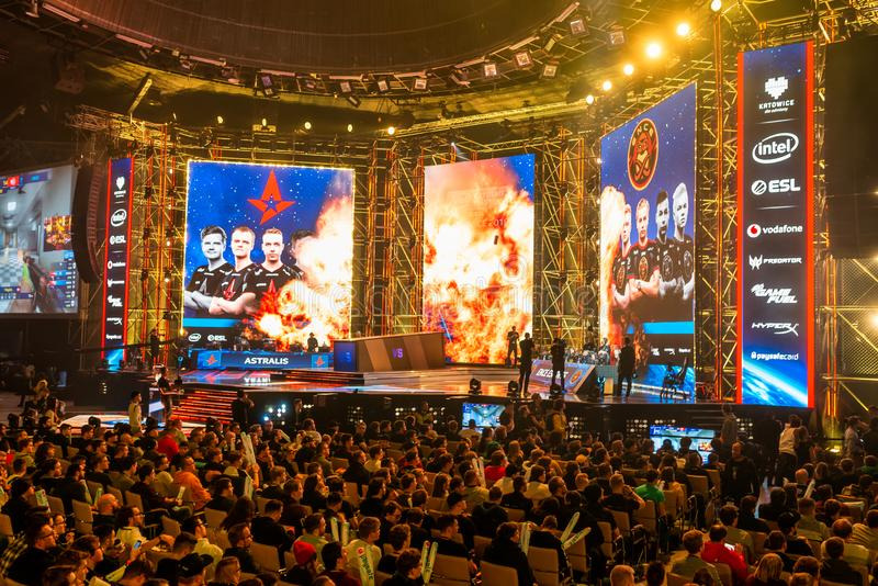 KATOWICE, POLAND - MARCH 3, 2019: Intel Extreme Masters 2019 - Electronic Sports World Cup on march 3, 2019 in Katowice, Silesia,. Poland. IEM ESL Couter Strike royalty free stock photography