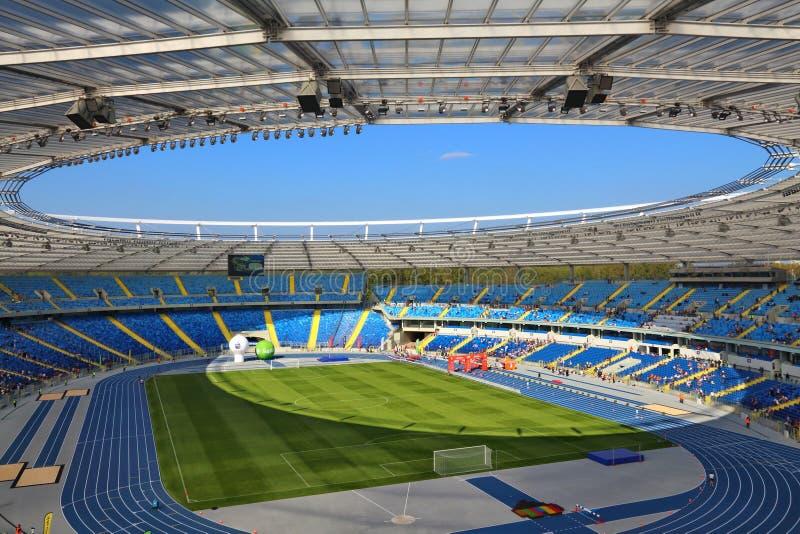 Silesian Stadium. KATOWICE, POLAND - OCTOBER 1, 2017: Silesian Stadium Stadion Slaski open day in Katowice, Poland. Stadion Slaski is one of biggest venues in stock photo
