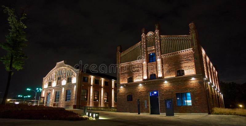 KATOWICE, POLAND - SEPTEMBER 28, 2018 Night view of Silesian Mus. Eum on 28 September 2018 in Katowice, Poland. The Silesian Museum is the largest regional stock photography