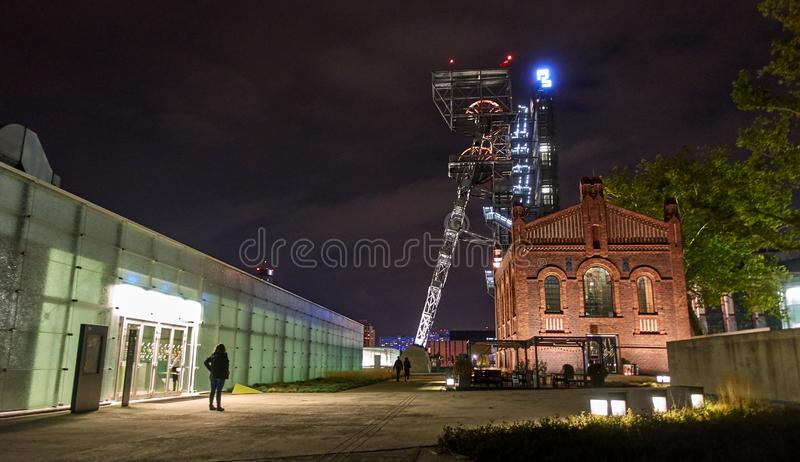 KATOWICE, POLAND - SEPTEMBER 28, 2018 Night view of Silesian Mus. Eum on 28 September 2018 in Katowice, Poland. The Silesian Museum is the largest regional stock images