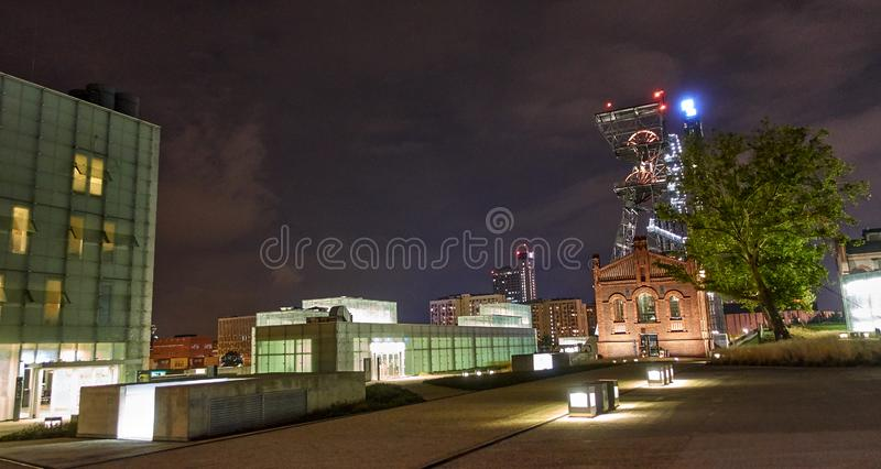 KATOWICE, POLAND - SEPTEMBER 28, 2018 Night view of Silesian Mus. Eum on 28 September 2018 in Katowice, Poland. The Silesian Museum is the largest regional stock photo
