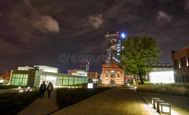 KATOWICE, POLAND - SEPTEMBER 28, 2018 Night view of Silesian Mus. Eum on 28 September 2018 in Katowice, Poland. The Silesian Museum is the largest regional royalty free stock image