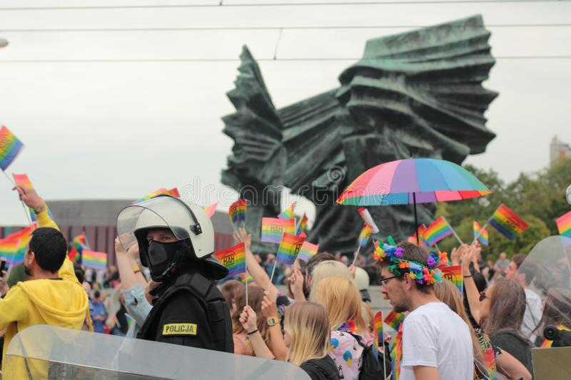 Police officer during Pride in Katowice royalty free stock images