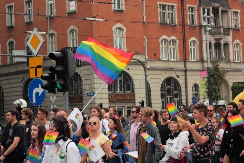 Pride in Katowice. Katowice, Poland - September 7, 2019: The third pride organised in Katowice stock photos