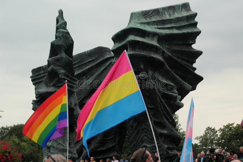 Rainbow flags during Pride in Katowice, Poland stock photography