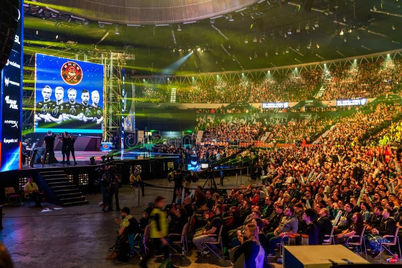 KATOWICE, POLEN - MAART 3, 2019: De Extreme Meesters 2019 van Intel - Elektronische Sportenwereldbeker op 3 maart, 2019 in Katowi stock foto