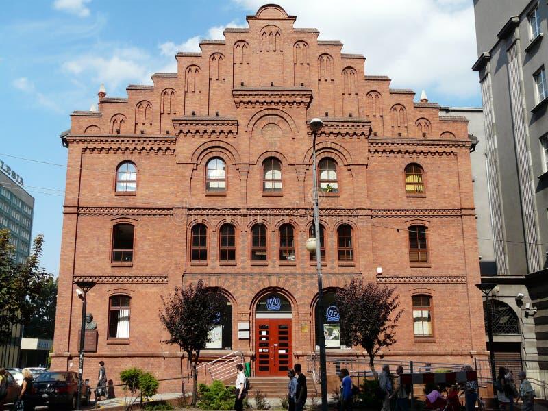 KATOWICE, SILESIA, edificio Polonia-hist?rico del pasillo municipal anterior en la calle de Mickiewicza imagen de archivo