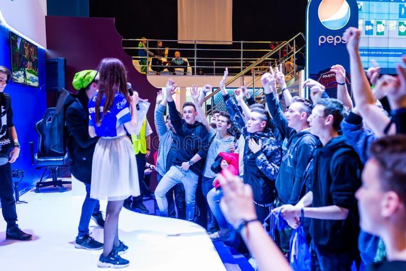 KATOWICKI, POLSKA, MARZEC - 3, 2019: Intel ekstremum Ćwiczy 2019 - Elektroniczny sporta puchar świata na marszu 3, 2019 w Katowic obrazy stock