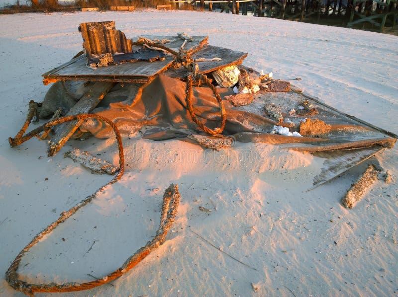 Katrina's Gift. Debris from Hurricane Katrina on the white sand beaches of the Gulf Shore stock image