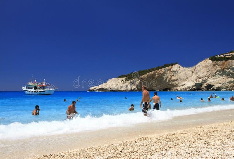 katsiki lefkada porto Греции пляжа стоковые изображения rf