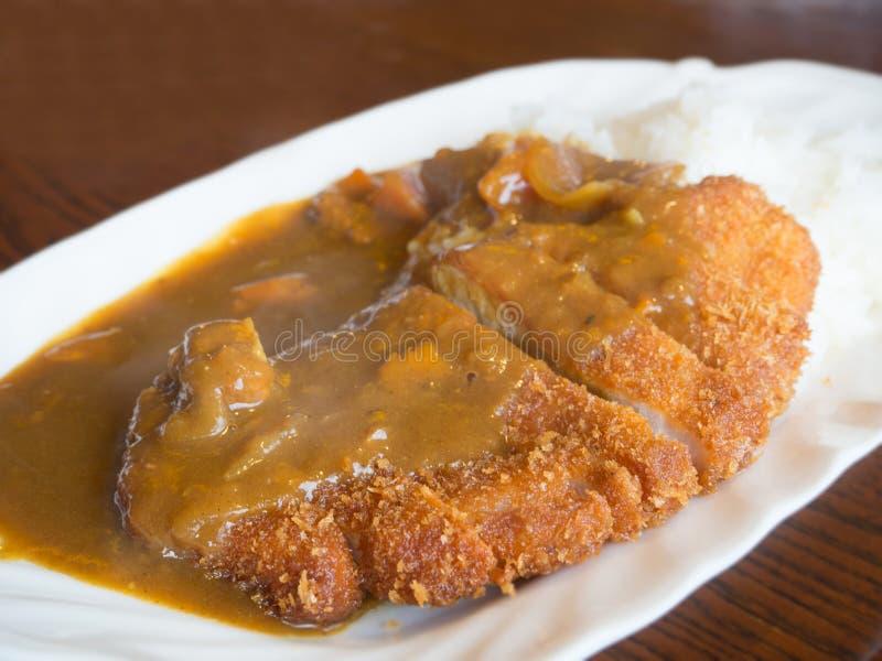 Katsu fritado da carne de porco com arroz de caril fotografia de stock royalty free