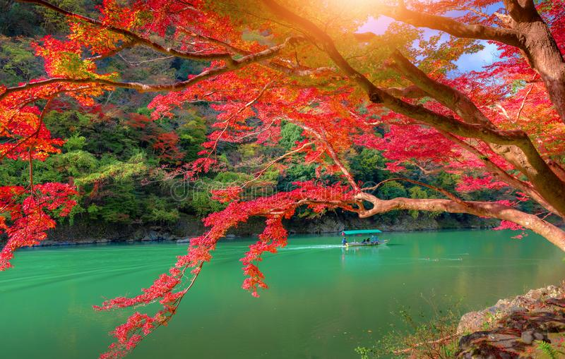 Katsura River with Boatman punting the boat for tourist. In Japan royalty free stock photography
