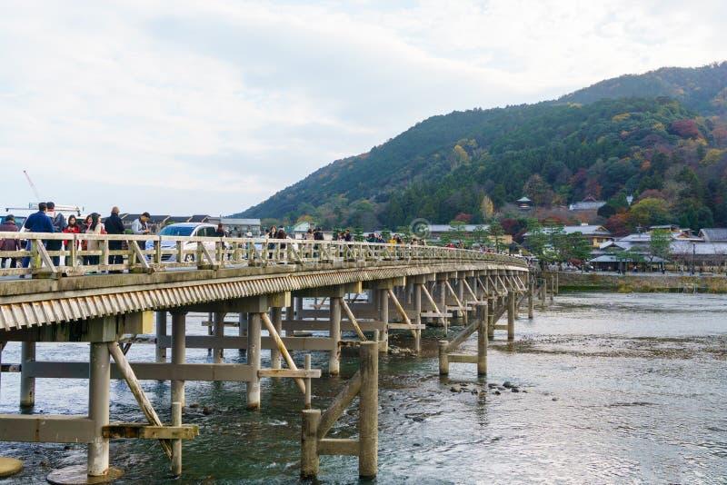 Katsura River and Togetsukyo Bridge in Arashiyama in kyoto royalty free stock photos