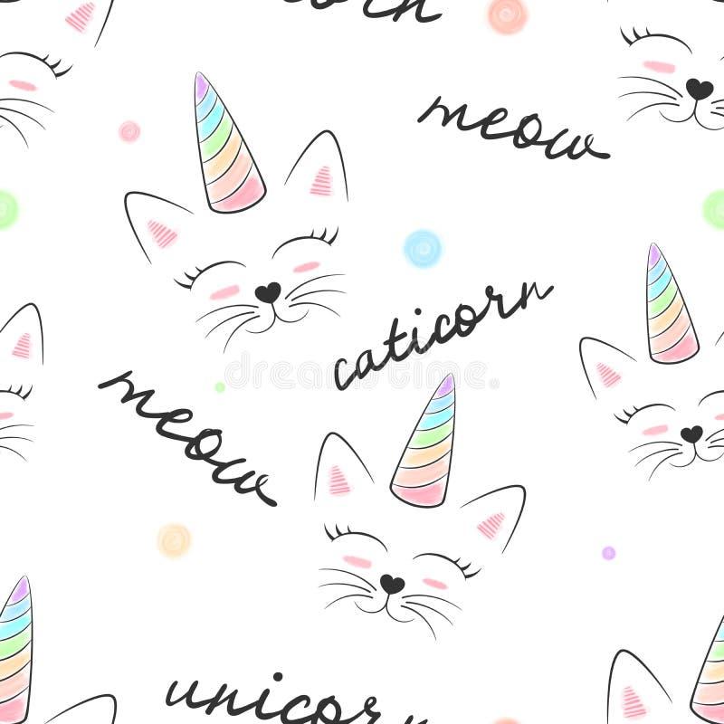 Katt caticorn, enhörning - sömlös textilmodell stock illustrationer