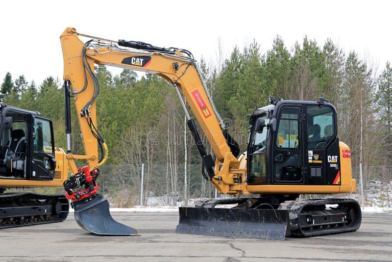 Katt 308E2CR Mini Hydraulic Excavator royaltyfri bild