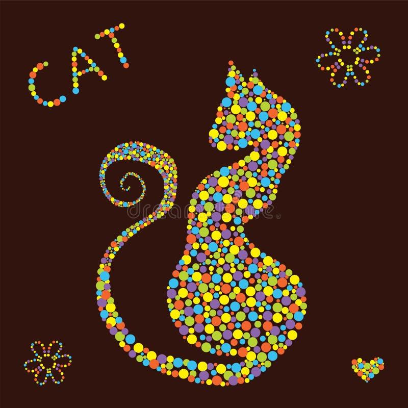 Katt från prickar vektor illustrationer