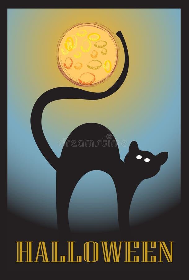 katt halloween stock illustrationer