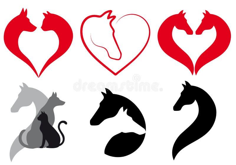Katt hund, hästhjärta, vektoruppsättning vektor illustrationer