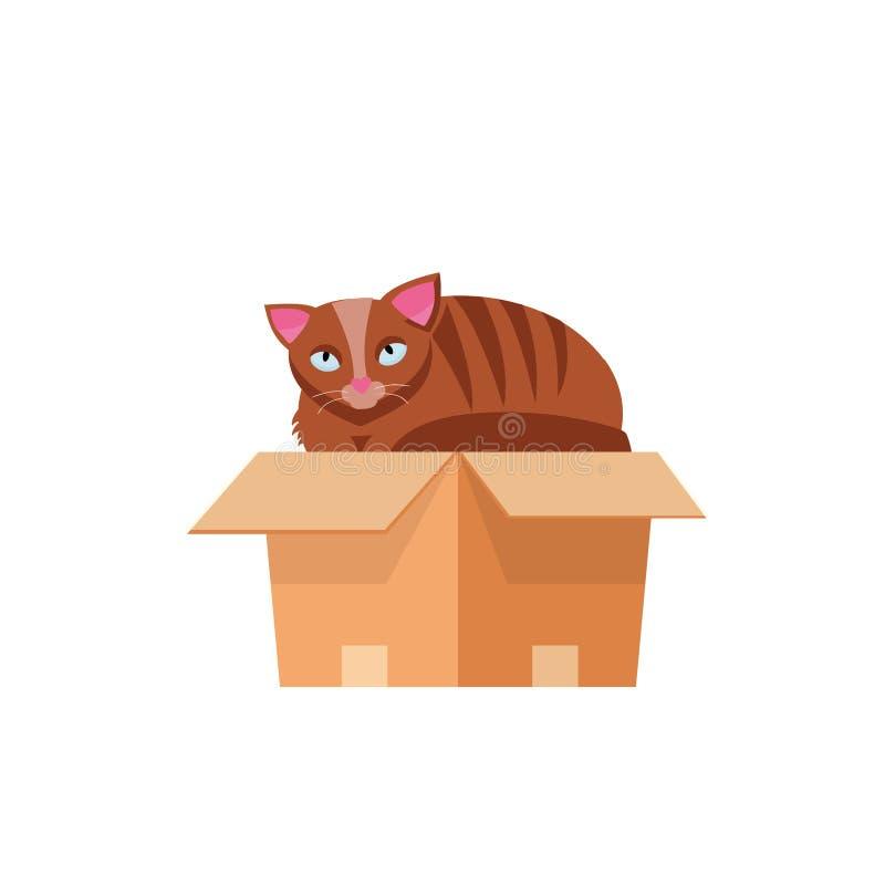Katt i boxas Katt i en kartong E r Tecknad filmkattunge royaltyfri illustrationer